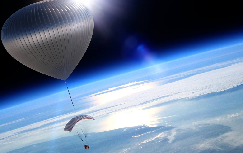 The World View space balloon capsule in space