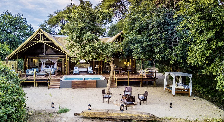 Chiawa Camp, Zambia, Suite dreams, luxe, villa, pool, spa, adventure, trees, africa