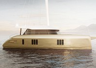 Check out Sunreef's golden catamaran