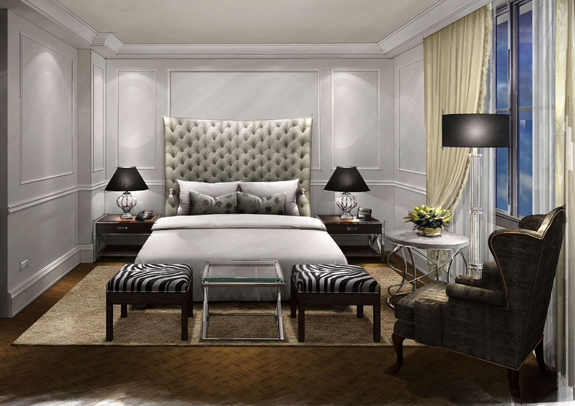 Rooms and suites feature original modern art and Italian marble flooring