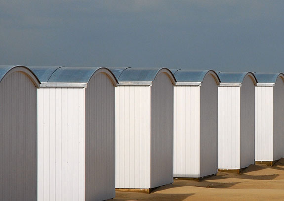 Beach huts along the coast of Knokke