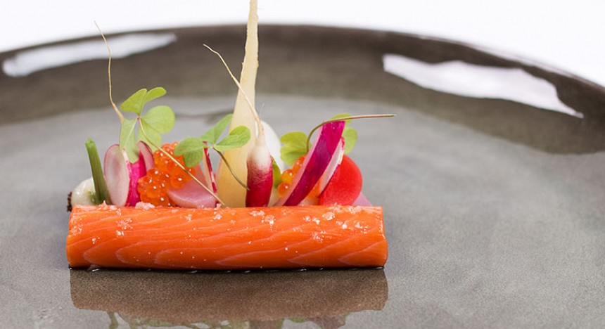 Alaska wild salmon, radish, and summer truffle