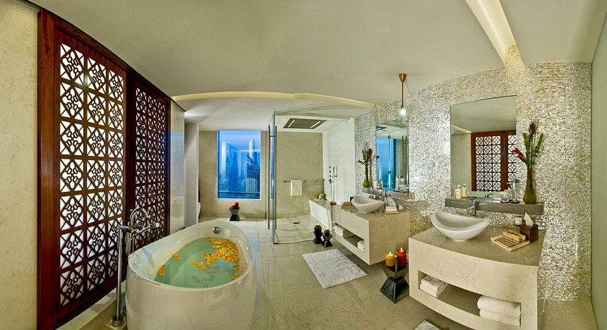 A lavish bathroom inside of the Monarch Suite