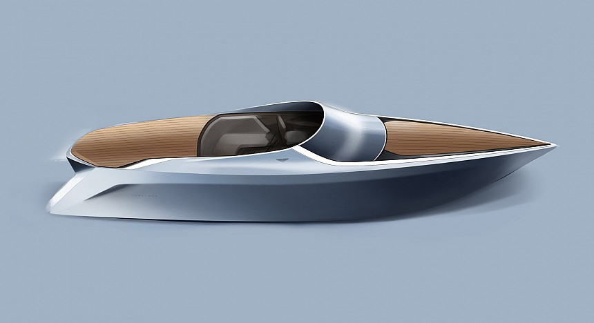 An artist's impression of Aston's luxury power boat out of the water