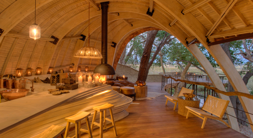 Lodging at the Okavango Safari Lodge