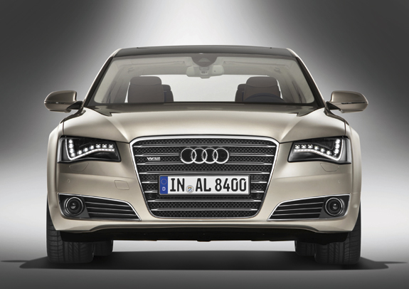 The Audi's elegant front end