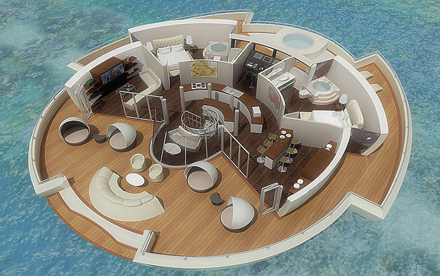 Floor plan for a two bed floating villa
