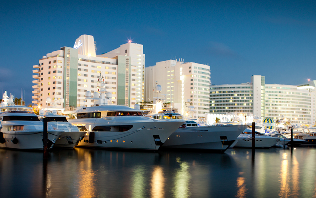 Yachts moored along the Intracoastal Waterway on Miami Beach