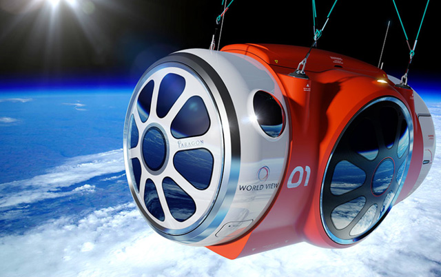 The World View passenger capsule has been designed to carry a maximum of six 'voyagers' and two crew. Dual-pane viewports offer 360-degree views, while on-board features include a toilet and snack bar